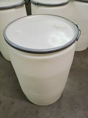 "55 Gallon Plastic Drum. Open top with lever lock cover, 2"" & 3/4"" Fittings."