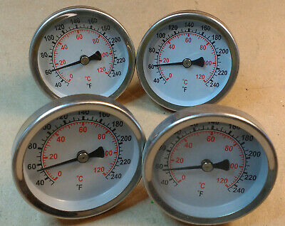 "Lot of 4 30-250F (0-120C) Thermometers, 1/2"" NPT, 1-1/4 Stem"