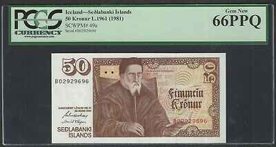 Iceland 50 Kronur L1961(1981) P49a Uncirculated Graded 66