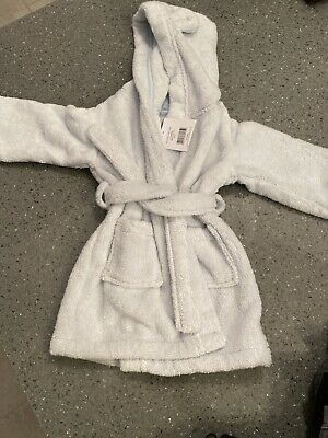 The Little White Company Boys Robe Dressing Gown Age 6-12 Months NEW