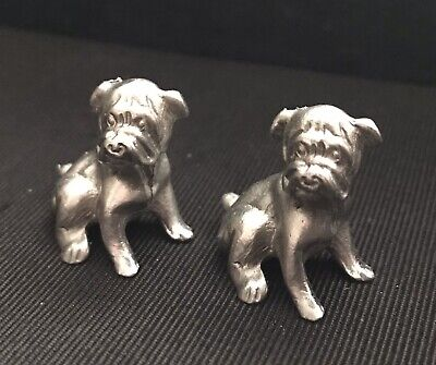 Set of 2 Pewter Tiny Cute Pug Dog Puppy Silver Metal Statue Figurines Z