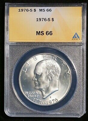 1976 S US Eisenhower IKE Silver $1 Coin (ANACS MS 66 MS66)  B6924