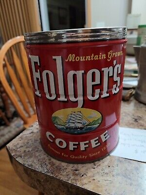 """Vintage 6.5"""" by 5"""" Folgers Tin Coffee Can & 5.5"""" by 4"""" Folgers Tin Coffee Can"""