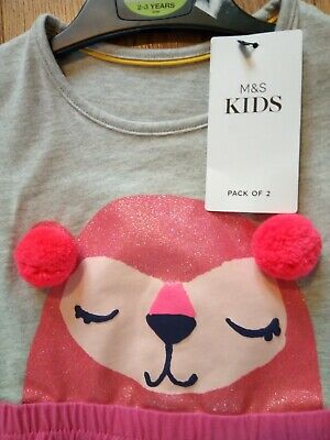 M&S kids girls pink dress & leleggings age 2 to 3 years new with tags.