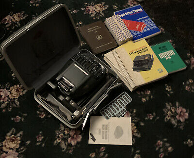 Stenograph Reporter Model Vintage Shorthand Machine W/ Tripod /case/books