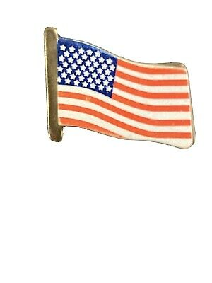 19th C Antique Enamel American Flag Lapel Pin 1890-1896 With 44 Stars USA