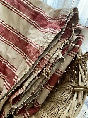 Gorgeous LARGE antique French red RUSTIC LINEN TICKING fabric panel c1880