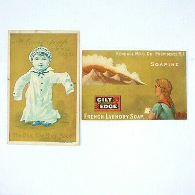 Victorian Trade Cards Soapine Gilt Edge And Acme Soap Gies & Co Gold Backgrounds