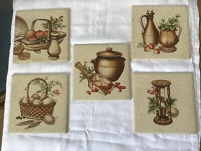 New Vintage 1970s ceramic tiles set of five new,lots of different uses.