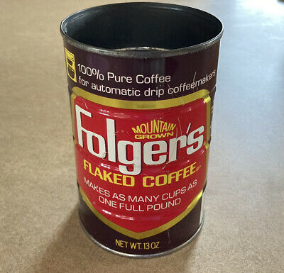 Folgers Flaked Coffee 13 Oz Automatic Drip Metal Coffee Can