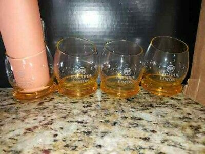 Bacardi Limon rounded curved wobble roly-poly bottom slant top glasses (4)
