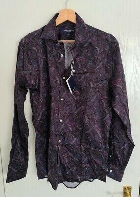 BNWT Men's William Hunt Purple Paisley Shirt Size 15.5