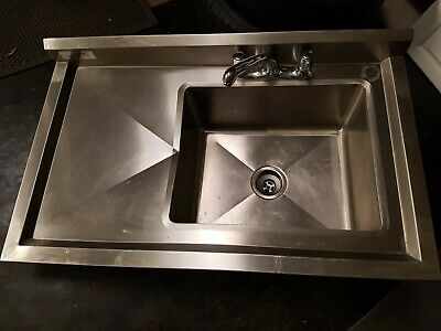 Modena stainless steel sink and drain board - freestanding + undertray 1mx600mm