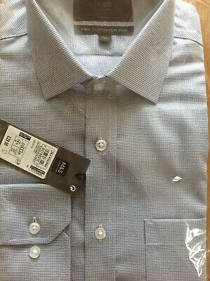 Shirt Size 141/2 37 Cm M&S Slim Fit Pure Cotton Grey Mix Single Cuff Non Iron