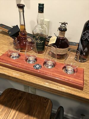 Cedar- Bourbon/Whisky FlightTray With 4 Glasses And Coin-pick A Coin/Use YourOwn