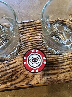 Flamed Red Oak Bourbon/Whisky FlightTray W/4 Glasses/Choose coin From Available