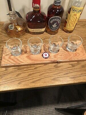 Red Oak-Bourbon/Whisky FlightTray W/4 Glasses And Coin-pick One Or Use Your Own