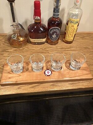 Cherry- Bourbon/Whisky FlightTray With 4 Glasses And Coin-Pick A Coin Or Use Own
