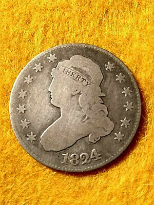 1824/2 Capped Bust Quarter 25C Strong Vg Scarce