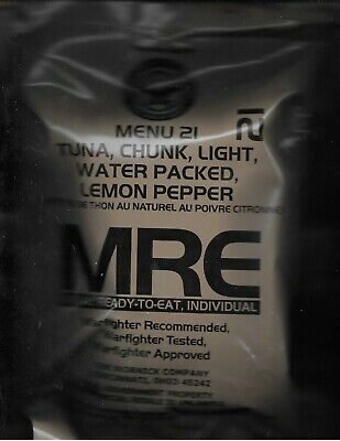 Military Surplus: 3 complete Chunk TUNA  Entrees MRE (Meals Ready to Eat).