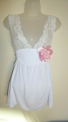 White Babydoll/negligee with removable pink corsage size xsmall