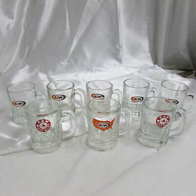 "Lot of 8 Vintage A&W Root Beer Mini Mugs Shot Glasses 3-1/4"" Tall"