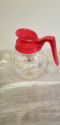 Vintage Folgers Glass Coffee Pot with Red Top
