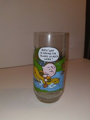 Vintage Peanuts Camp Snoopy Collection McDonalds Glass Cup 16 Oz Charlie
