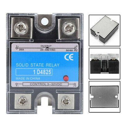 New  D4825 Single Phase Solid State Relay SSR 25A DC 3-32V AC 24-480V