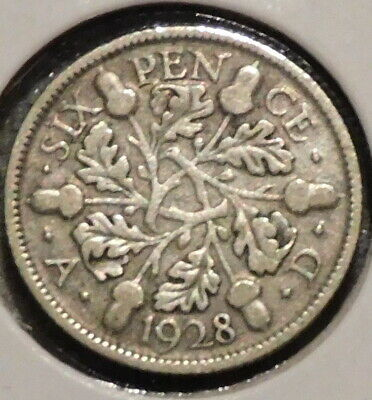 British Silver Sixpence - 1928 - King George V - $1 Unlimited Shipping