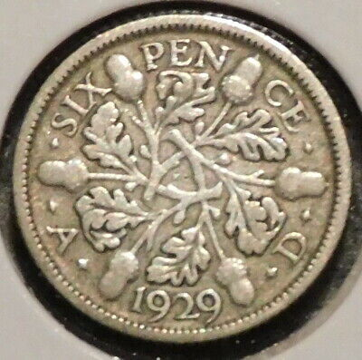 British Silver Sixpence - 1929 - King George V - $1 Unlimited Shipping