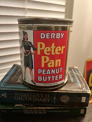 Vintage 1940's 1 Lb. 12 Oz. Peter Pan Peanut Butter tin; key-wind; VG condition
