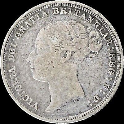 1886 Great Britain Sixpence (Silver) - Queen Victoria