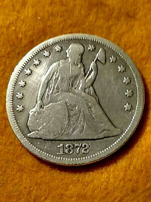 1872 Liberty Seated $1 Dollar With Motto Scarce Nicevg+/Fine Lightly Wiped