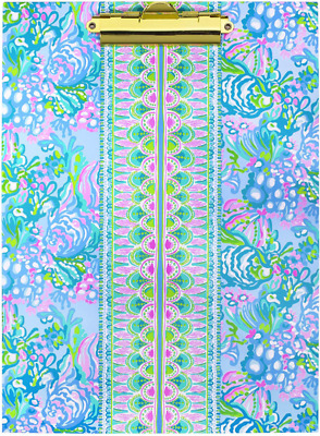 Lilly Pulitzer Blue Clipboard Folio With 60 Page Lined Notepad And Interior Stor