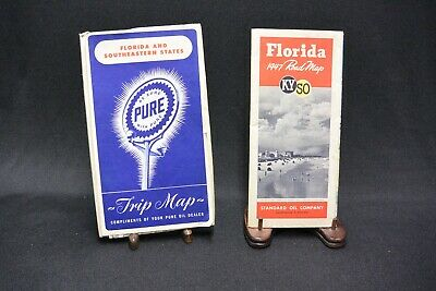 Vintage Florida and SE States Road Maps: 1947 Standard Oil, KYSO and Pure Oil