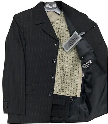 Boys 3 Piece Suits Sebastian Le blanc Black with Stripes Age 8 Ref: New Cover