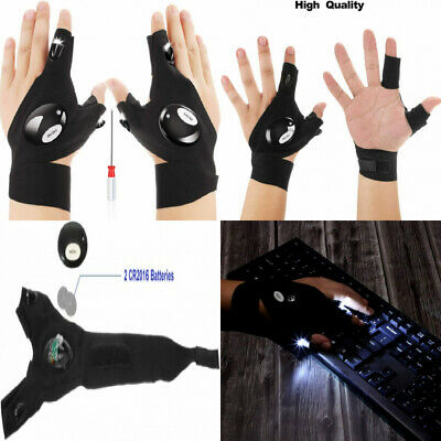 1 Pair of 2 LED Flashlight Glove Outdoor Fishing Gloves and Screwdriver for...