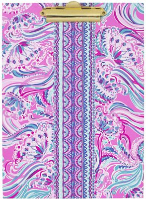 Lilly Pulitzer Pink/Blue Clipboard Folio With 60 Page Lined Notepad And Interior