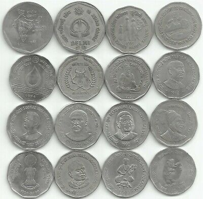 India Rupees 2, AUNC/UNC Set of 16 Commemorative Coins minted between 1982-2003