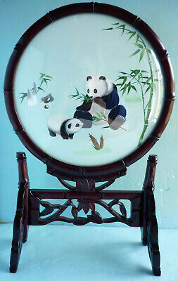 2-Sided Silk Embroidered Pandas & Bamboo Under Glass On Wooden Display Stand