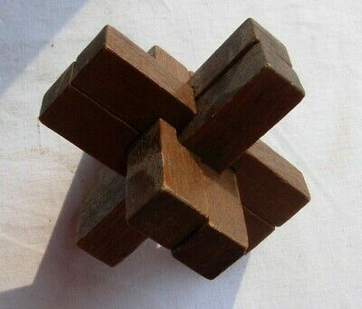 Antique 3D wooden treen puzzle - 6 pieces fitting together