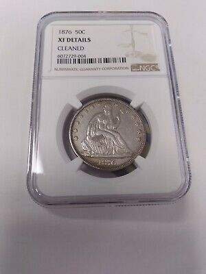 1876 Seated Liberty Silver Half Dollar XF Details NGC Great Eye Appeal !!!
