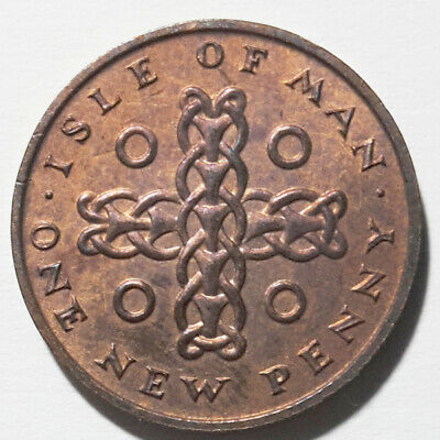 Iom Isle Of Man 1 One New Pence Norse Ring Chain Queen Elizabeth Ii 1975