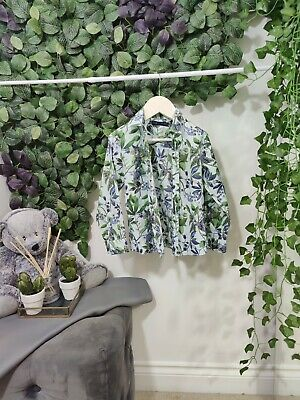Next Age 4 - 5 Years Kids Child Boys Shirt 110cm Green Blue Flowers Plant...