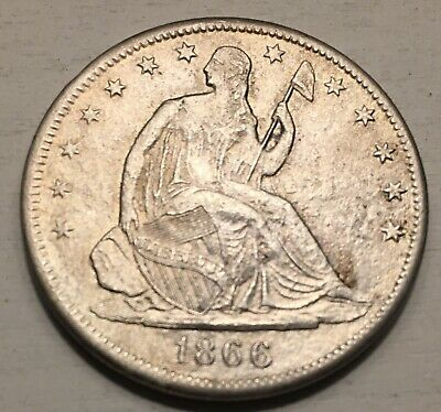 1866 S  Seated Liberty Half Dollar, with Motto, FULL LIBERTY, VF++ Condition