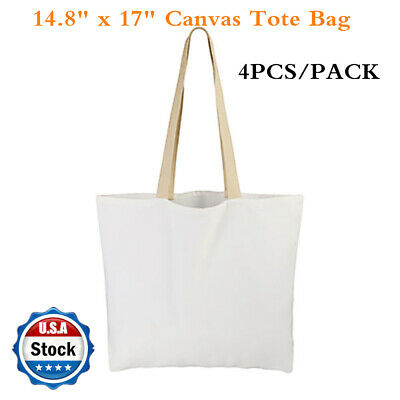 """4 PACK 14.8"""" x 17"""" Sublimation Blank White Canvas Tote Bag Shopping Bags USA!"""