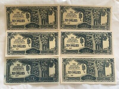 Set of 6 WW2 Japanese Government $10 Dollar Bill WWII BankNotes