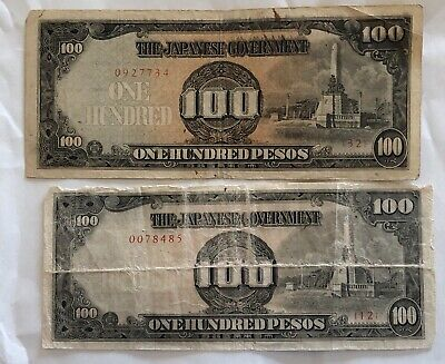 Set of 2 WW2 Japanese Government 100 Pesos Bill WWII BankNotes Certificate