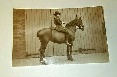 RPPC BOBBED TAIL HORSE WITH YOUNG GIRL Helen Gaither 1915 PHOTO POSTCARD